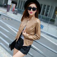 Female plaid leather jacket long-sleeved leather machine jacket 2016 new Autumn Slim thin candy color PU short coat jacket w1008