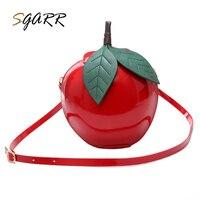 Sgarr известного бренда женская сумка из искусственной кожи Для женщин сумка Apple Форма Сумки через плечо однотонные красные женские кошелек