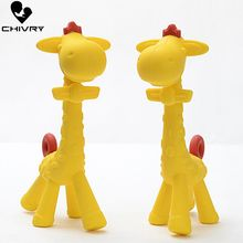 Chivry Cute Food Grade Silicone Giraffe Shape Baby Teether Infant Teething Cartoon Toy New Necklace Hanging Accessories