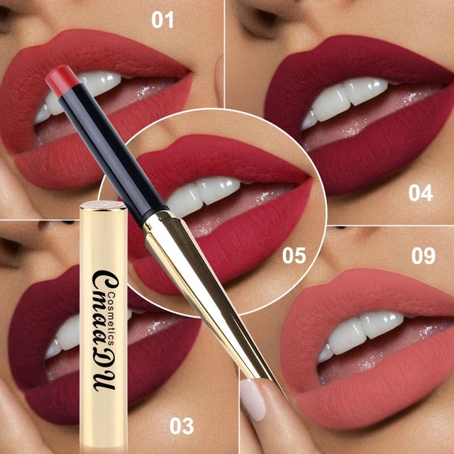 CmaaDu 12 colores pintalabios Mate impermeable Sexy lápiz de labios de mujer de larga duración Easywear pigmento suave Batom Mate cosméticos
