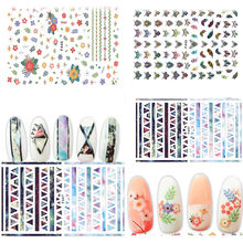 Nieuwe Mode Gemengde Ontwerp Nieuwe Nail Art Sticker Set Glitter Bloem Decor Manicure nail sticker nail art stickers N1(China)