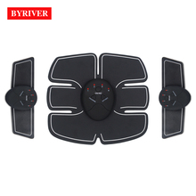 BYRIVER Electric Muscle Stimulator EMS Electrodes Pad Massager Abdominal Trainer Tens Machine Stimulating Exerciser