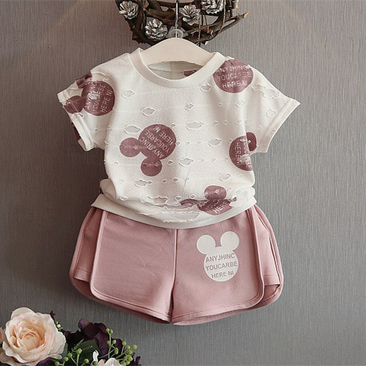 2016 Fashion New Girls Mickey Sport Suit Cartoon Clothing Set Ripped White Shirt+Shorts Pants for Baby kids and children clothes