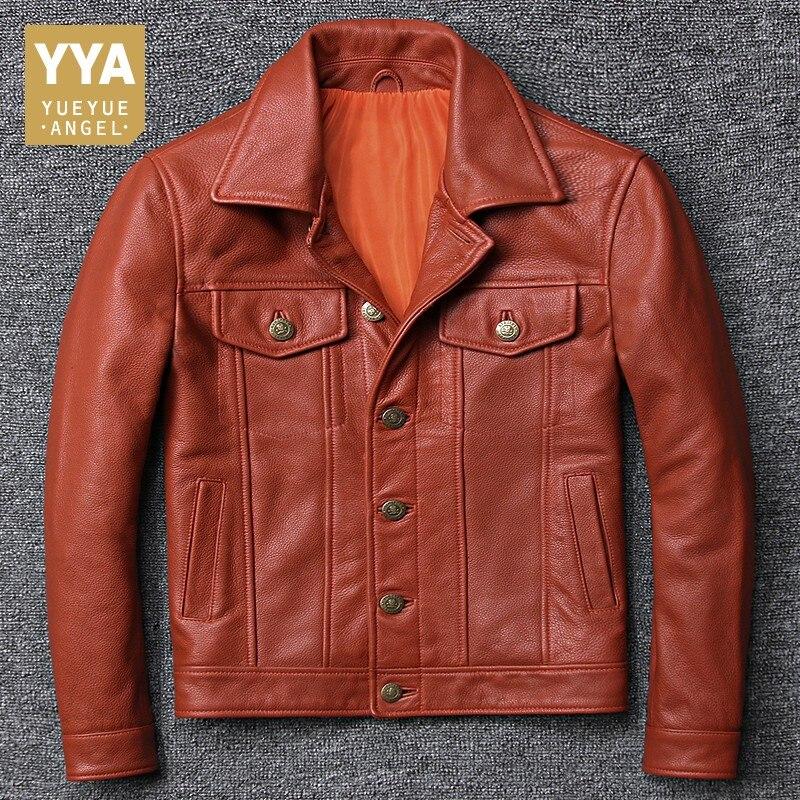 100% véritable cuir hommes aviateur veste italie de luxe simple boutonnage court coupe-vent Biker cuir pilote manteau grande taille 5XL