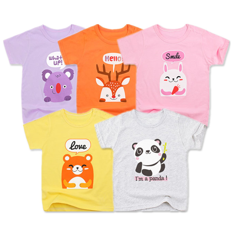 5 Packs Baby Girls T-Shirts Summer Short Sleeve Baby Clothing Cotton Tee Tops Cartoon Animal Embroidery Boy Clothes Kids T-Shirt
