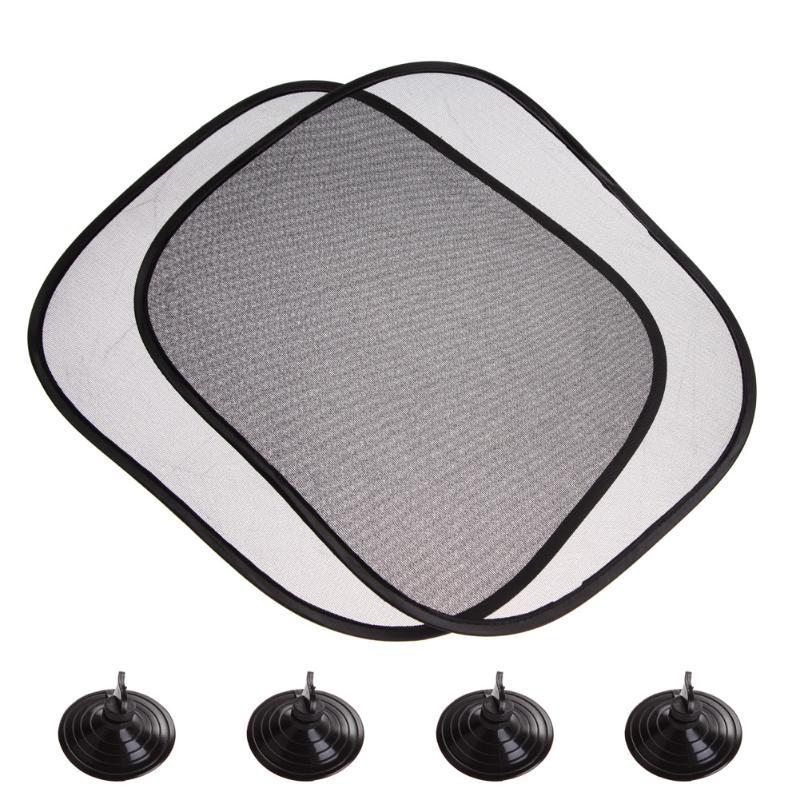 2Pcs 44*36cm Black Mesh Car Sun Shade Side Rear Window Glass Sunshade Cover Visor Shield Screen Solar Protector Auto Accessories