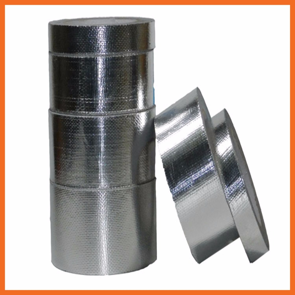 Silver Aluminium Foil Adhesive Sealing Tape Heating Duct Repairs Glass fiber Silver Aluminum Foil Heat Shield Tape Roll waterproof seam sealing tape roll satellite self amalgamating rubber sealing tape sealing cable repair lead