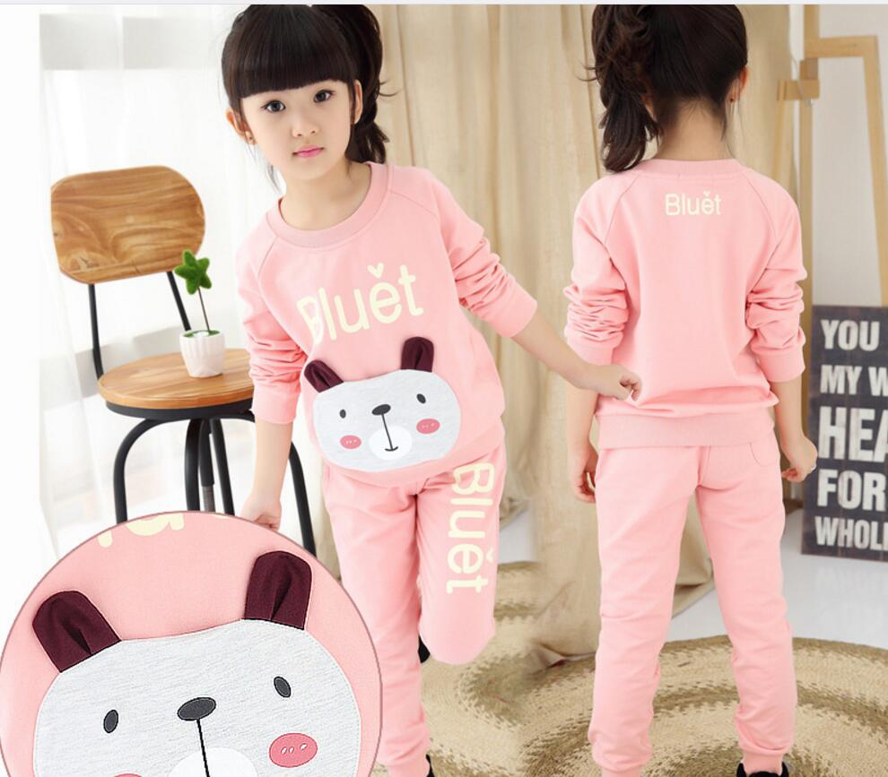 Girls Clothing Sets Autumn Winter Waistcoat Girls Casual Sweatshirts+Trousers Sport Suit Outfit Kids Clothes Girl Costume HB1181