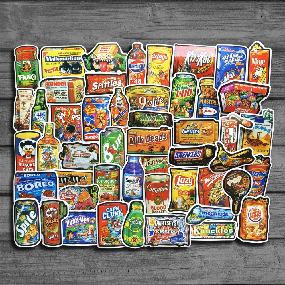 50 шт./лот забавные закуски и напитки граффити наклейки для ноутбука Тетрадь автомобилей Pad Чемодан телефон велосипедов наклейки детские игр...