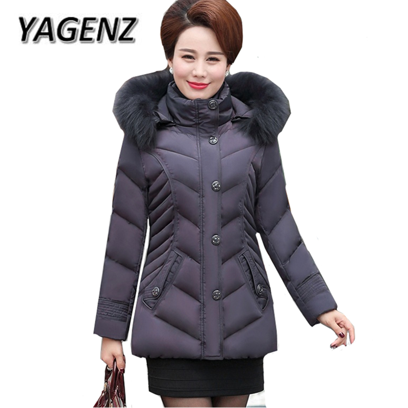 2018 Big Fur collar winter Down cotton Women Jacket Hooded Coats Middle-aged Women Warm Short Outerwear Parkas Casual Jacket 5XL 2018 high grade middle aged down fox fur collar winter jacket hooded coats large size thick warm parkas women long outerwear 6xl