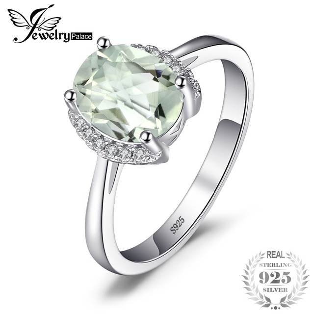 JewelryPalace Brand Oval 1.8ct Natural stone Green Amethyst Engagements Rings Fo