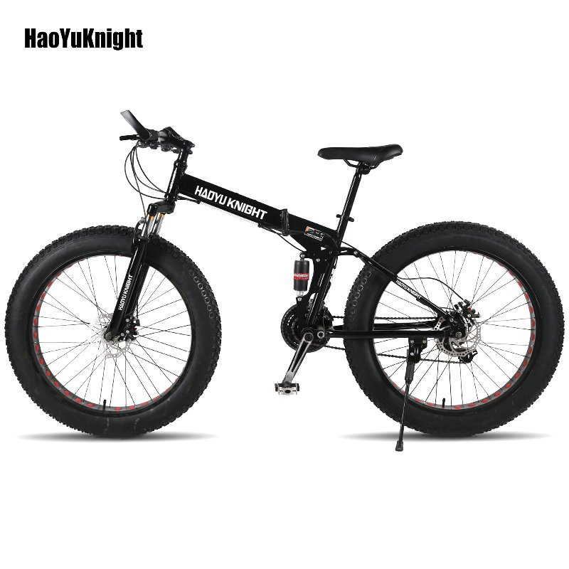 HaoYuKnight vélo en acier cadre pliant 24 vitesse Shimano mécanique roue à disque disque freins 26