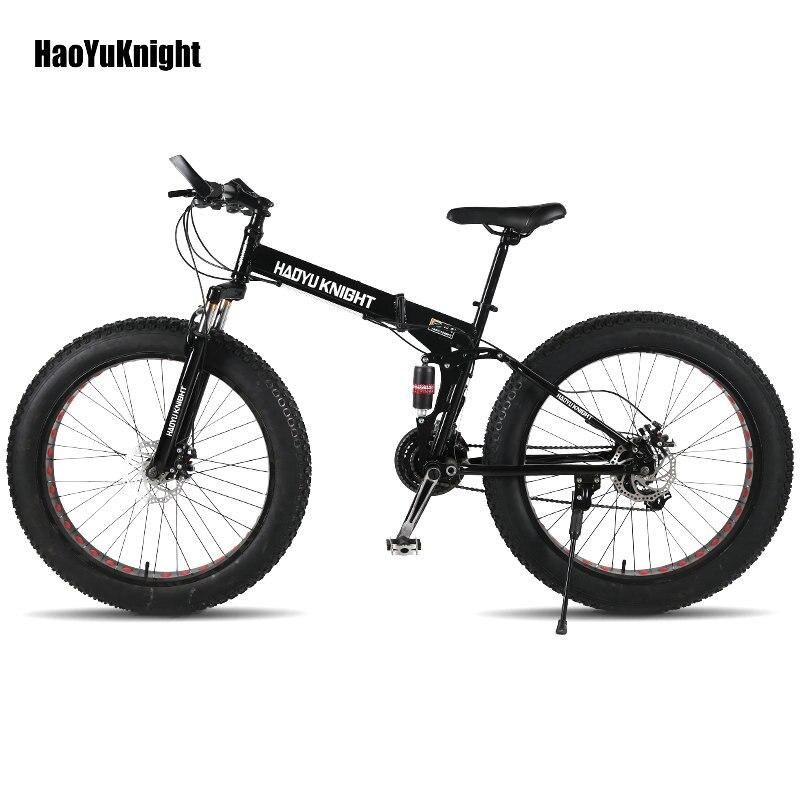 HaoYuKnight vélo en acier cadre pliant 24 vitesses Shimano mécanique disque roue freins à disque 26