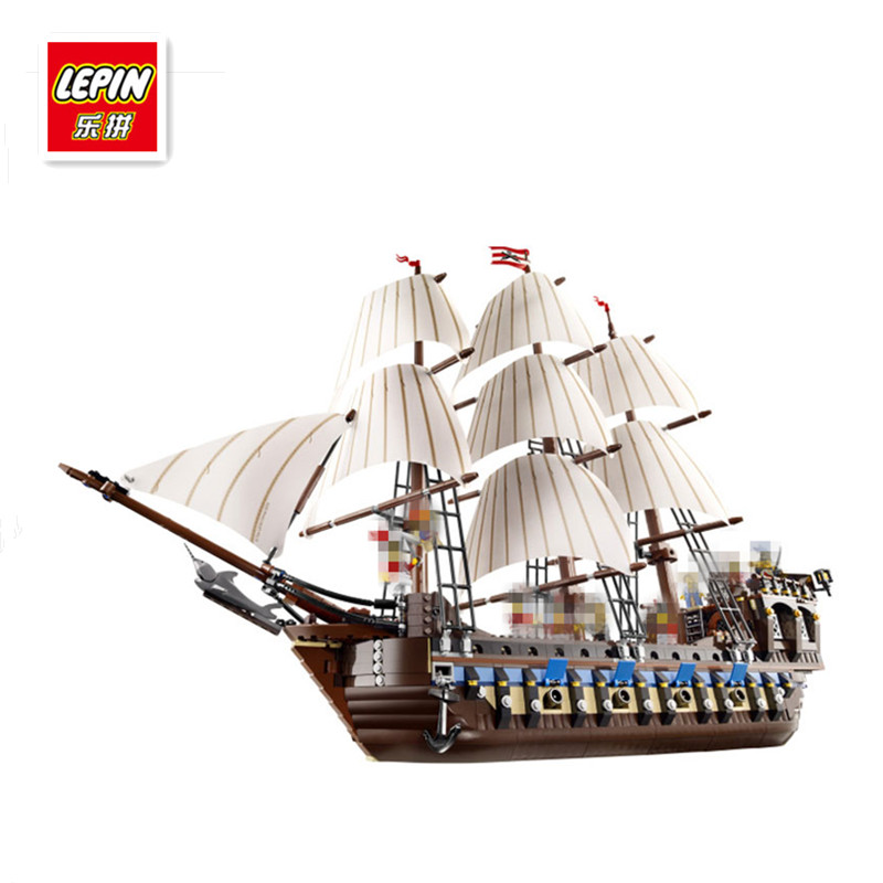 IN STOCK NEW LEPIN 22001 Pirate Ship Imperial warships Model Building Kits Block Briks Toys Gift 1717pcs Compatible10210 lepin 22001 pirates series the imperial war ship model building kits blocks bricks toys gifts for kids 1717pcs compatible 10210