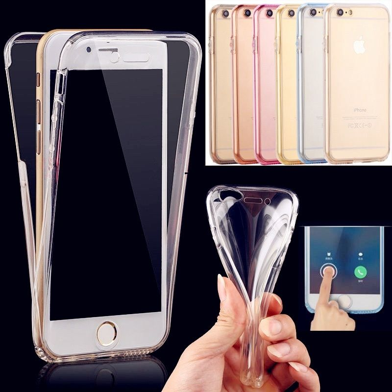 360 Full Case For iPhone X Case Smart Touch Screen Front Back Clear TPU Soft Cover For iPhone 5S 6S 7 8 Plus XS XR XS Max Case 360 degrees