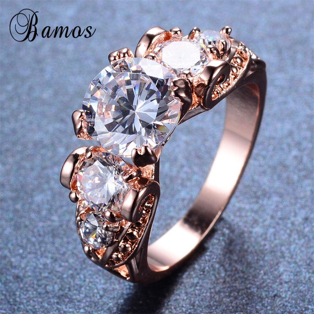 Bamos 2017 Luxury Female White Round Ring Fashion Rose Gold Filled Ring  Vintage Wedding Rings For