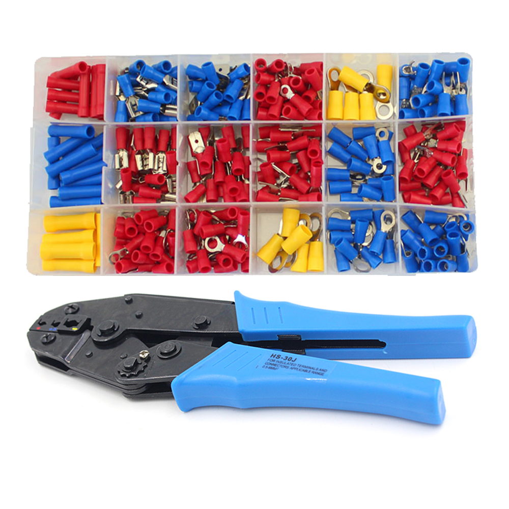 295pcs Pre insulated Spade Fork Ring Terminal Lugs Crimper Crimping Plier Assortment Tool Set Kit
