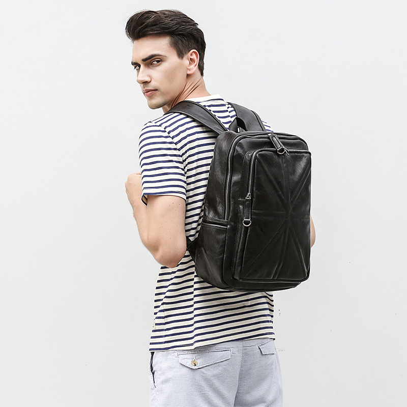 2018 New Hot Men Backpacks Fashion Rice Type Pu Leather Male Student Backpack Boy Business Laptop School Computer Travel Bag men original leather fashion travel university college school book bag designer male backpack daypack student laptop bag 9950