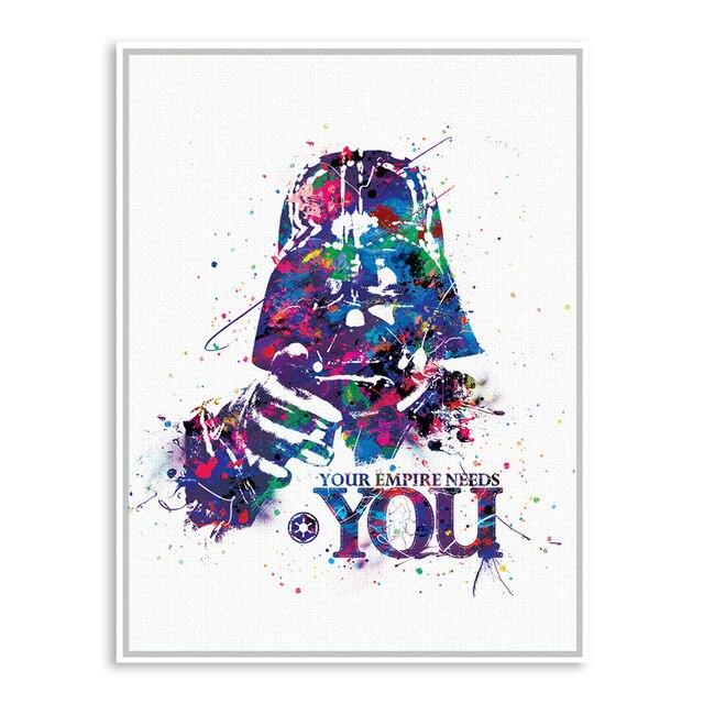 Oryginalny Star Wars Darth Vader Maska Akwarela Nowoczesne Malarstwo