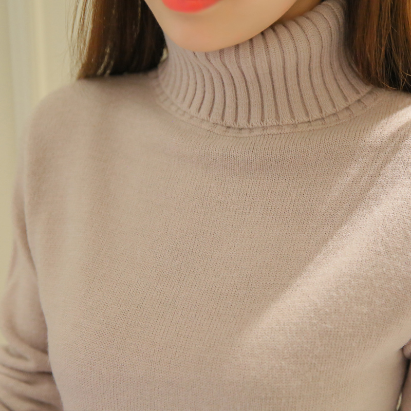 Sweters Women  Autumn Winter Thick Women Pullover Sweaters Turtleneck Long Sleeve Solid Sexy Slim Knitted Sweater Pull Femme