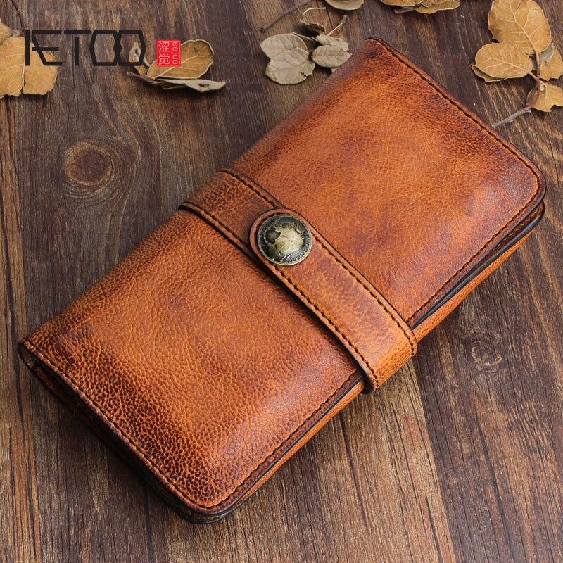 AETOO Original design fait à la main rétro en cuir hommes long portefeuille première couche de cuir sac à main fermoir en cuir souple
