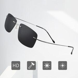 Image 4 - Summer Transition Sunglasses Titanium Brand Designer Ultralight Male Light Frameless Aviation Photochromism Sun Glasses Frames