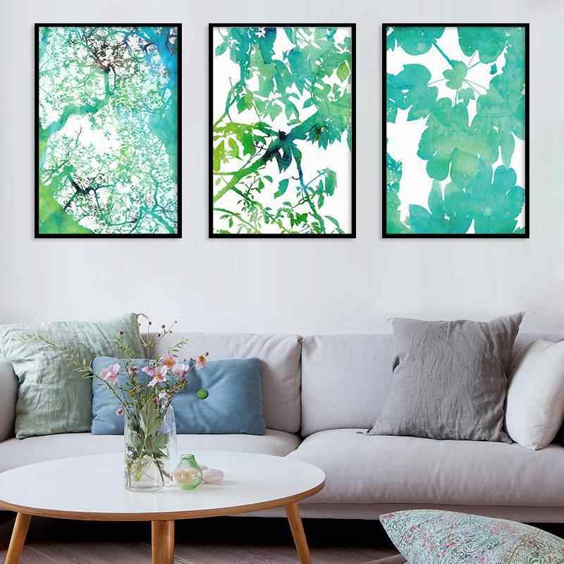 Watercolor Plant Leaves Poster Print Nordic Landscape Wall Art Canvas Painting Picture for Living Room Home Decor No Frame