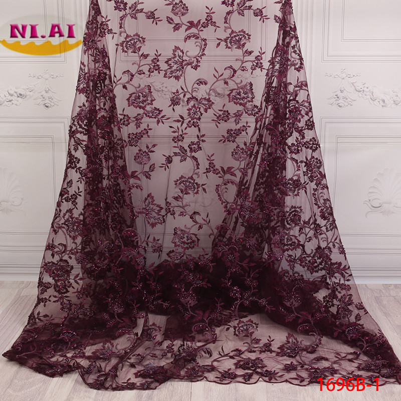 French Lace Fabric 3D Flowers Embroidered African Tulle Lace Fabric With Beads African Lace Fabric For