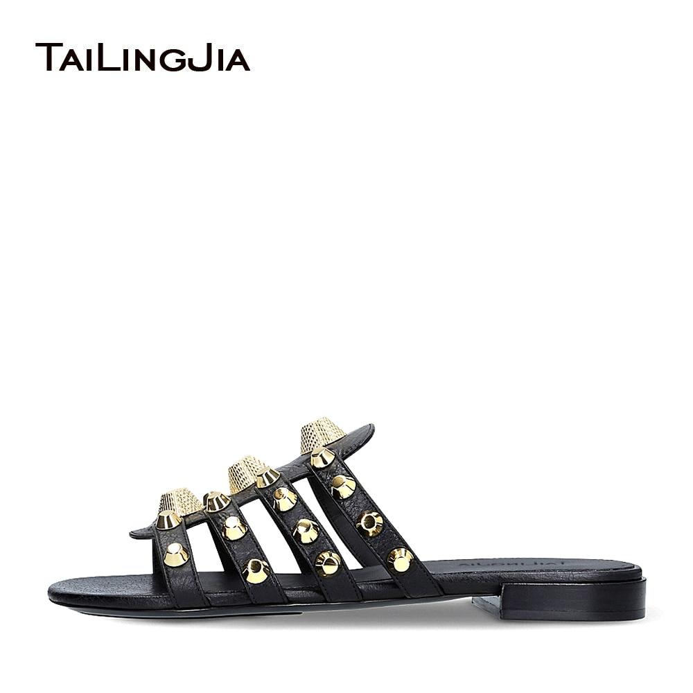 Women Black Giant Studded Sandals Gold