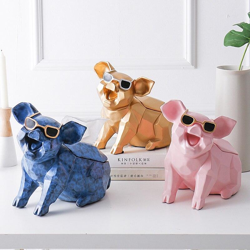 Géométrie créative cochon distributeur Cassette porte-papier plateau de pompage salon Table basse décoration mignon cochon meilleur cadeau