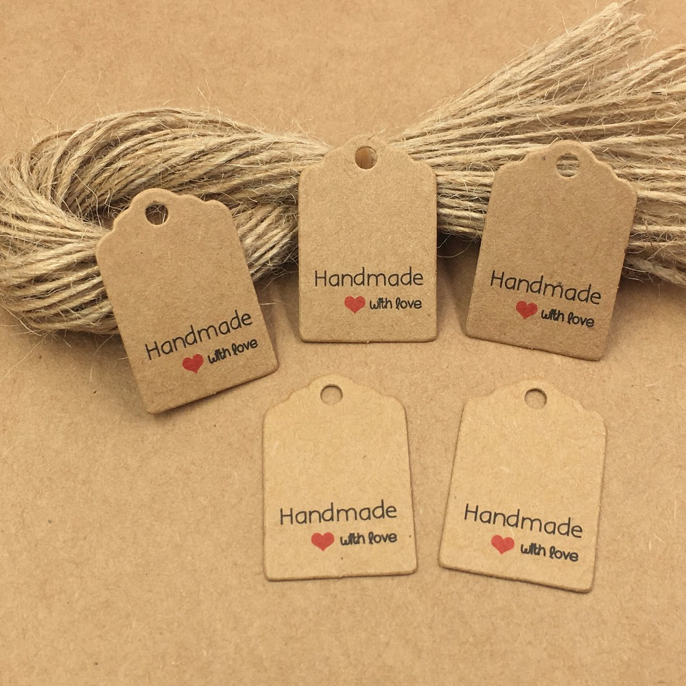 200pcs Kraft Paper Gift Tags With Strings,Wedding Packing ...
