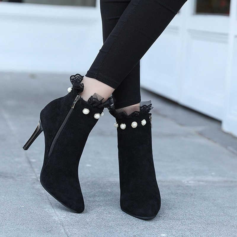 Kışlık botlar kadın 2019 yeni vahşi sivri kadın yüksek topuklu kısa çizmeler düz renk inci dantel stiletto kadın martin çizmeler