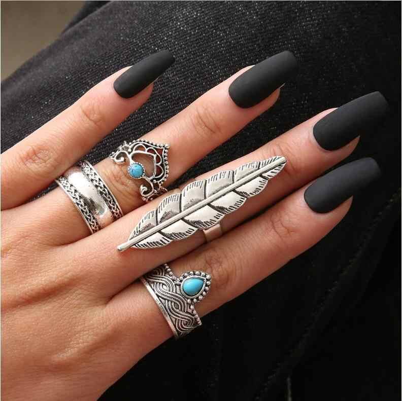 3-12Pcs/Set Fashion Vintage Ring Set Femme Stone Silver gold Midi Finger Rings Boho Women Jewelry Knuckle Ring Set Jewelry Gift
