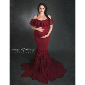 Image 5 - Long Maternity Photography Props Dresses For Pregnant Women Clothes Maternity Dresses For Photo Shoot Pregnancy Dress Maxi Gown