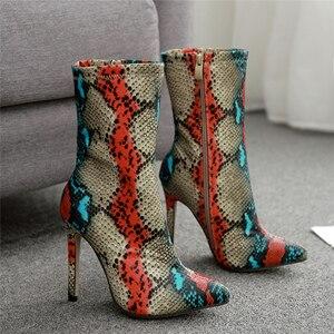 Image 2 - 2020 חדש נשים 11.5cm גבוהה עקבים מגפי פטיש מחודד הבוהן מגפי מתפתל Zip קרסול מגפי לנשף סתיו נחש הדפסה חשפנית נעל
