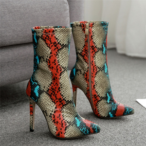 Image 2 - 2020 New Women 11.5cm High Heels Boots Fetish Pointed Toe Boots Serpentine Zip Ankle Boots Prom Autumn Snake Print Stripper Shoe