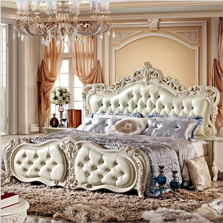 modern european solid wood bed Fashion Carved  leather  french bedroom furniture 10026modern european solid wood bed Fashion Carved  leather  french bedroom furniture 10026