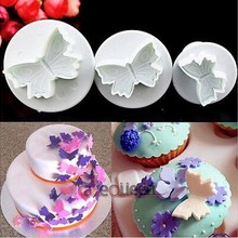 Plunger Fondant Embossing-Tool Cake-Decorating Butterfly Cutter 3pcs/Set Veined Gift