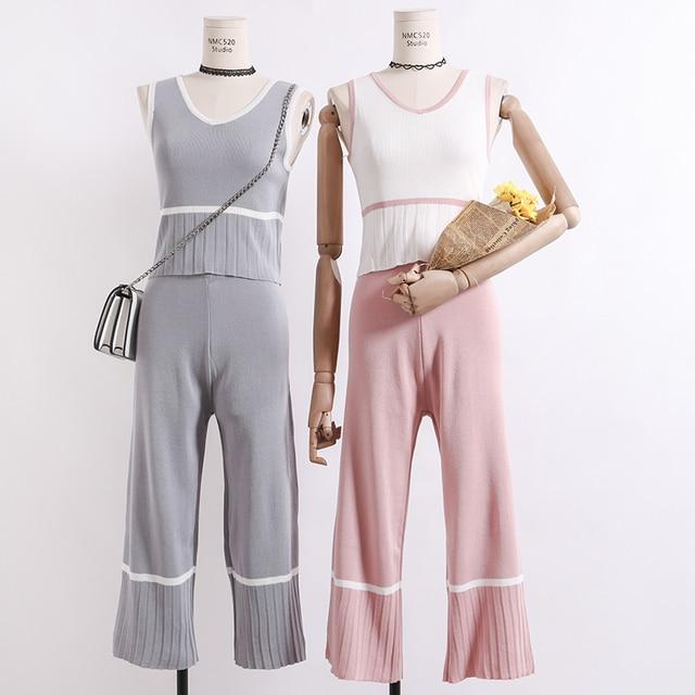 Amolapha Frauen Tank Tops + Breite Bein Hosen Strick 2 stücke Kleidung Beiläufige Weste Jumper Tops + Hose Stricken Kleidung anzüge