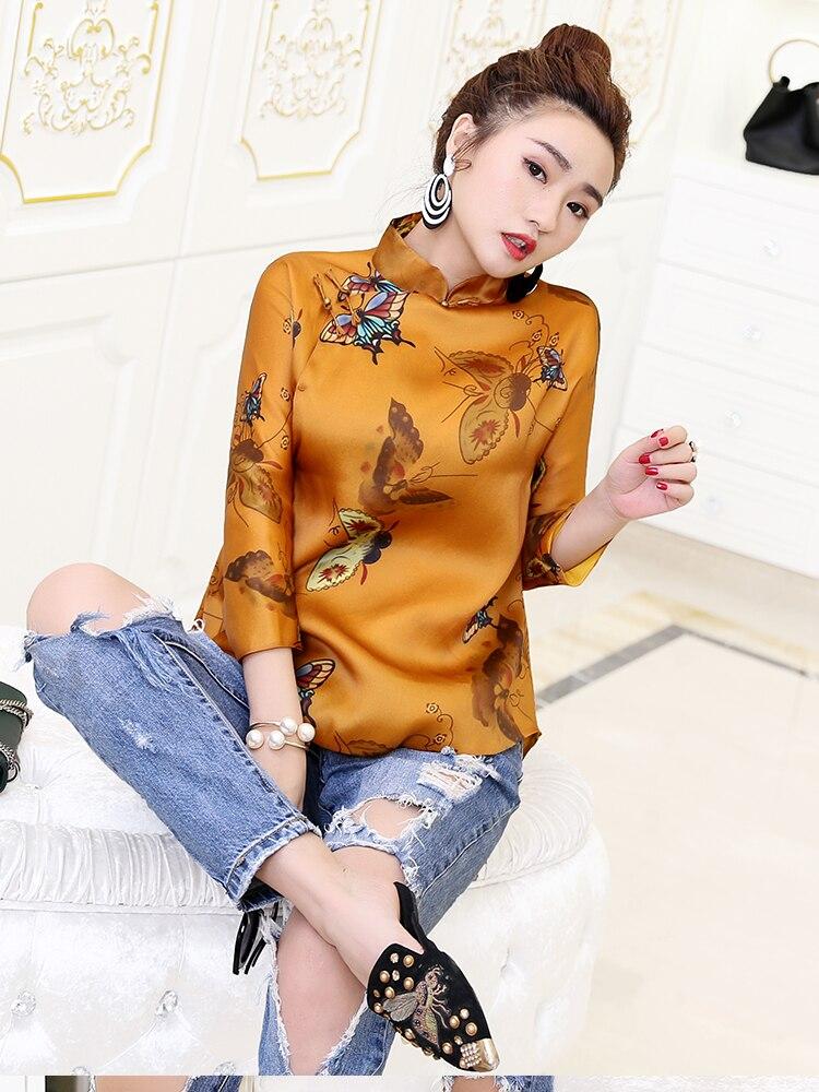 2019 traditionnel chinois blouse qipao haut cheongsam style chemise doré phoenix qipao chemise femmes chemisier chinois traditionnel haut