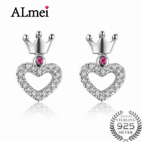 Almei 2017 New Real 925 Sterling Silver Heart Crown Pave Stud Earrings With Clear CZ for Women Girls Gifts with Box 40% LR021