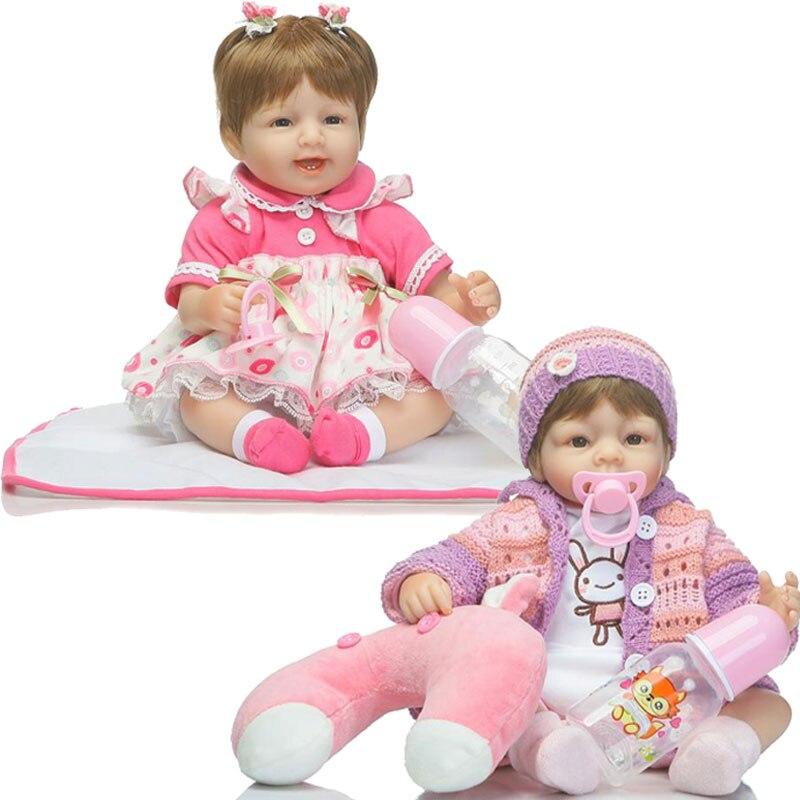 Kawaii 45CM Baby Dolls 17inch Silicone Reborn Doll Toys Newborn Bebe Bonecas Lifelike Realistic Girl Boneca Reborn Brinquedos 55cm realistic reborn baby dolls newborn bebe doll lifelike soft vinyl baby doll toys brinquedos reborn bonecas de silicone gift
