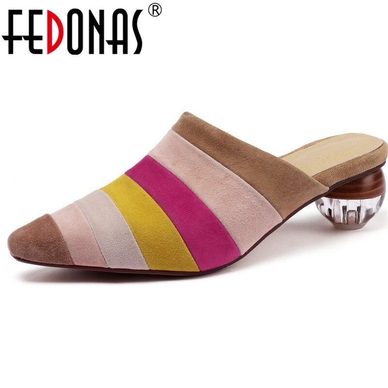 FEDONAS عارضة النساء مضخات الربيع الصيف الأغنام الجلد المدبوغ أحذية الحفلات أنيقة صغيرة مربع تو روما غريبة أحذية بكعب امرأة-في أحذية نسائية من أحذية على  مجموعة 1