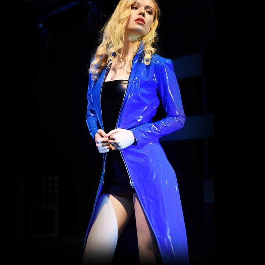 Plus ขนาด Latex Windbreaker Stage Performance Cape เสื้อคลุมยาวผู้หญิง Punk Rock Evening หมวก Mujer Tops Clubwear Trench-ใน โค้ทยาว จาก เสื้อผ้าสตรี บน   2