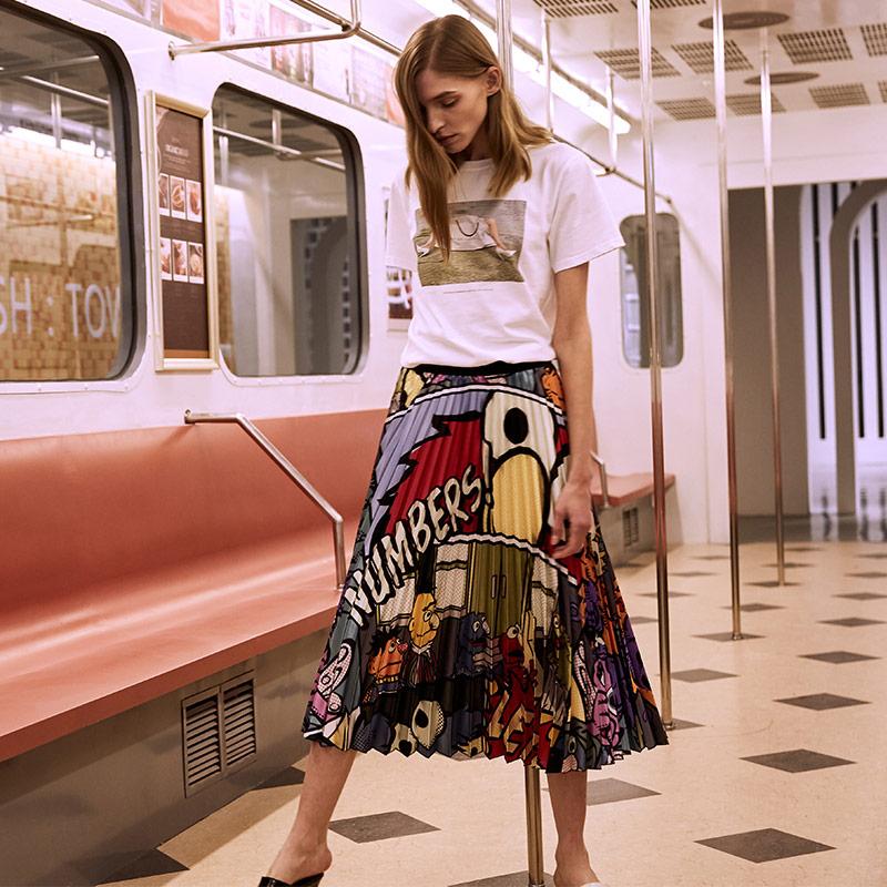 2019 Summer Fashion Cartoon Pattern Skirt Womens High Waist A Line Skirts Pleated Skirt Harajuku