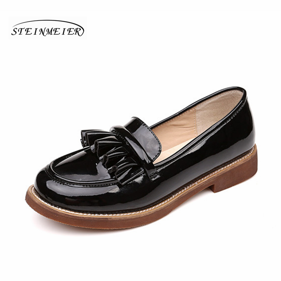 Women genuine patent leather casual oxford shoes round toe handmade flat vintage black flat shoes for women hot sale mens italian style flat shoes genuine leather handmade men casual flats top quality oxford shoes men leather shoes