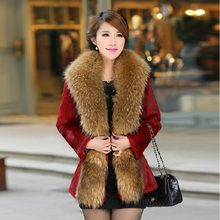 2018 women new Autumn and winter imitation fur coat fox collar PU leather womens long trench