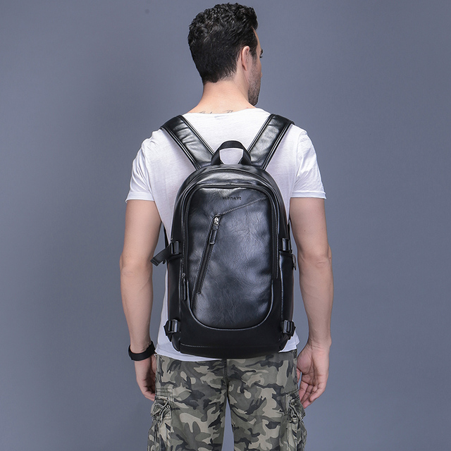 Men's Travel Casual Backpack 15.6 Inch Waterproof Leather