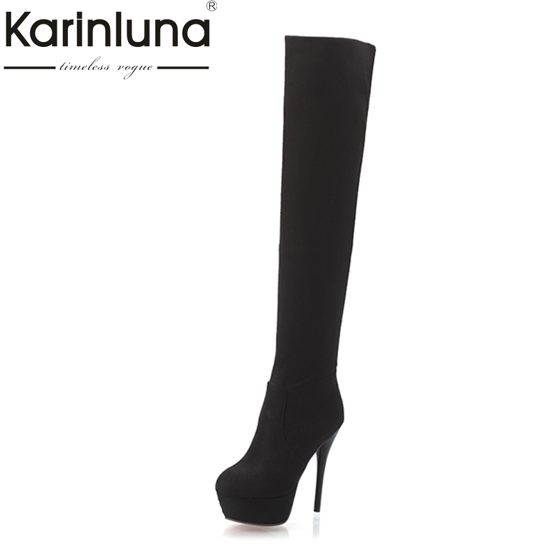 Big Size 34-43 Women Over Knee High Boots Sexy Thin High Heels Red Bottom Shoes Round Toe Platform Women Winter Snow Boots doratasia big size 34 43 women half knee high boots vintage flat heels warm winter fur shoes round toe platform snow boots