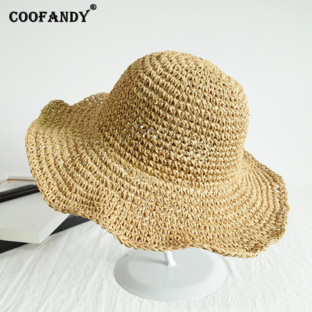 Women Fashion Summer Round Solid Sunscreen None Ultraviolet Beach Beige, Khaki Hat(China)